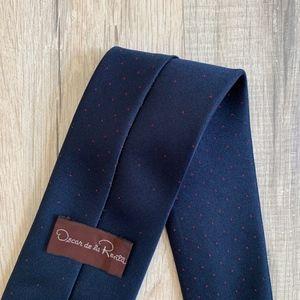 Oscar de la Renta Navy Blue Silk Blend Tie